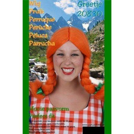 Pruik greetje oranje met vlechten en groene strikjes