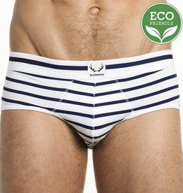 Bluebuck WHITE BRIEF NAVY STRIPES