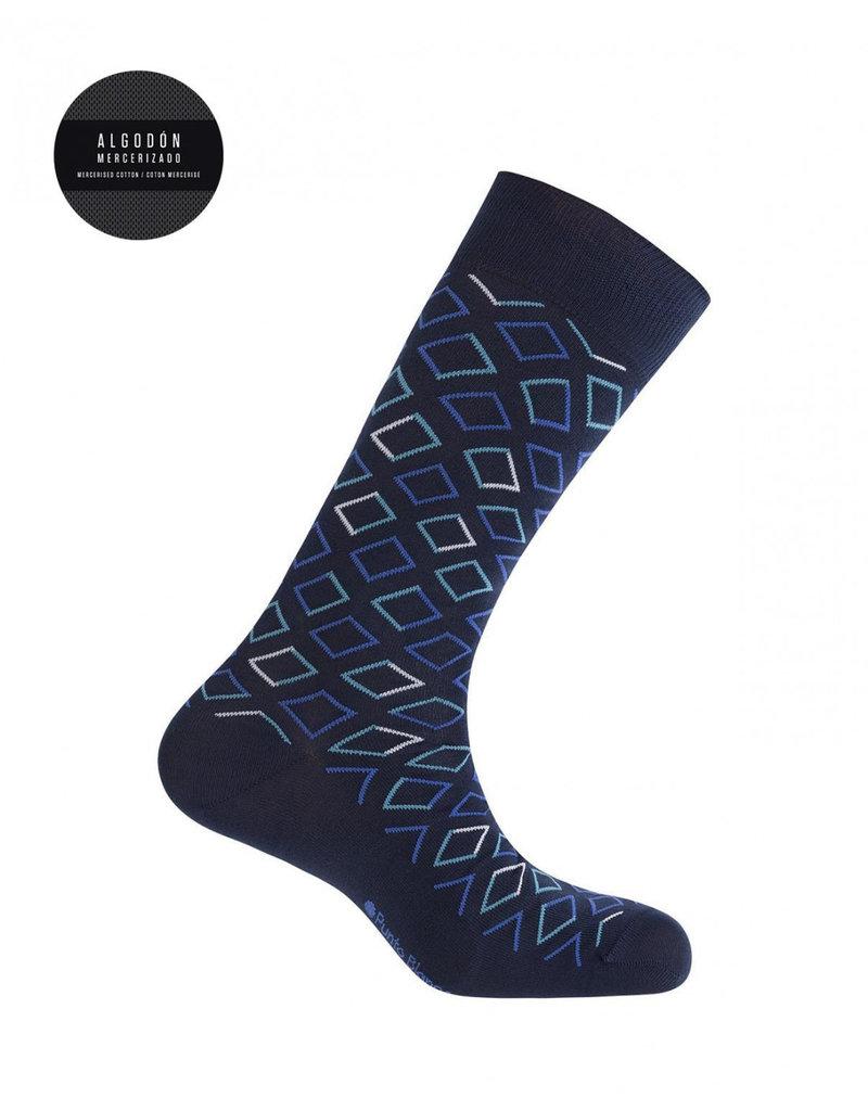 Punto Blanco  7496110-100 Korte gemerceriseerde katoenen sokken met ruiten