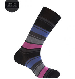 Punto Blanco Korte gemerceriseerde katoenen sokken met brede contrastkleurige strepen