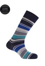 Punto Blanco 7495310-100 Korte gemerceriseerde katoenen sokken met brede contrastkleurige strepen