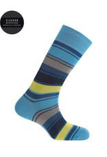 Punto Blanco 7495310-188 Korte gemerceriseerde katoenen sokken met brede contrastkleurige strepen