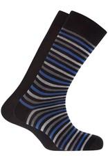 Punto Blanco 7495610-100 2 paren katoenen sokken - gestreept en effen donker blauw