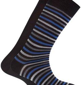 Punto Blanco 2 paren katoenen sokken - gestreept en effen donker blauw
