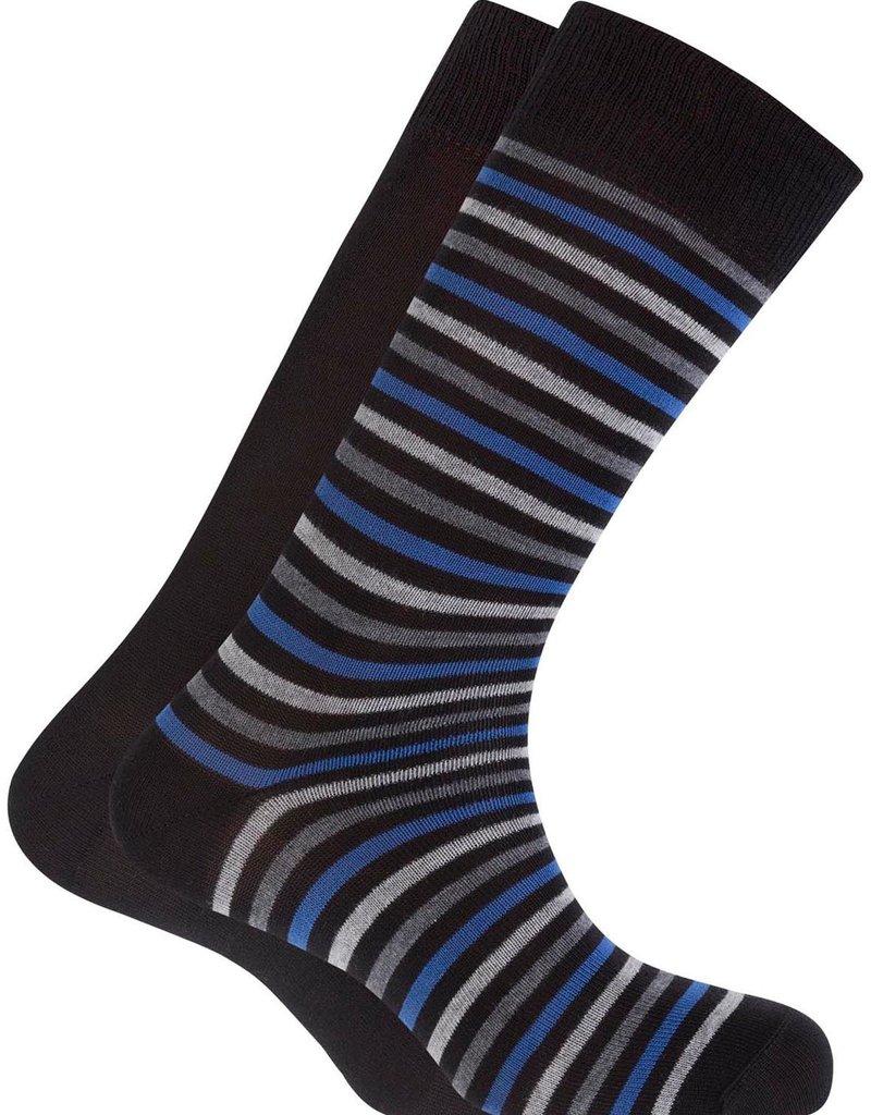 Punto Blanco 7495610-100 2 pares Calcetines de algodón - rayas y liso azul marino