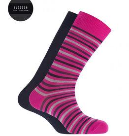 Punto Blanco 2 paren katoenen sokken - gestreept en effen