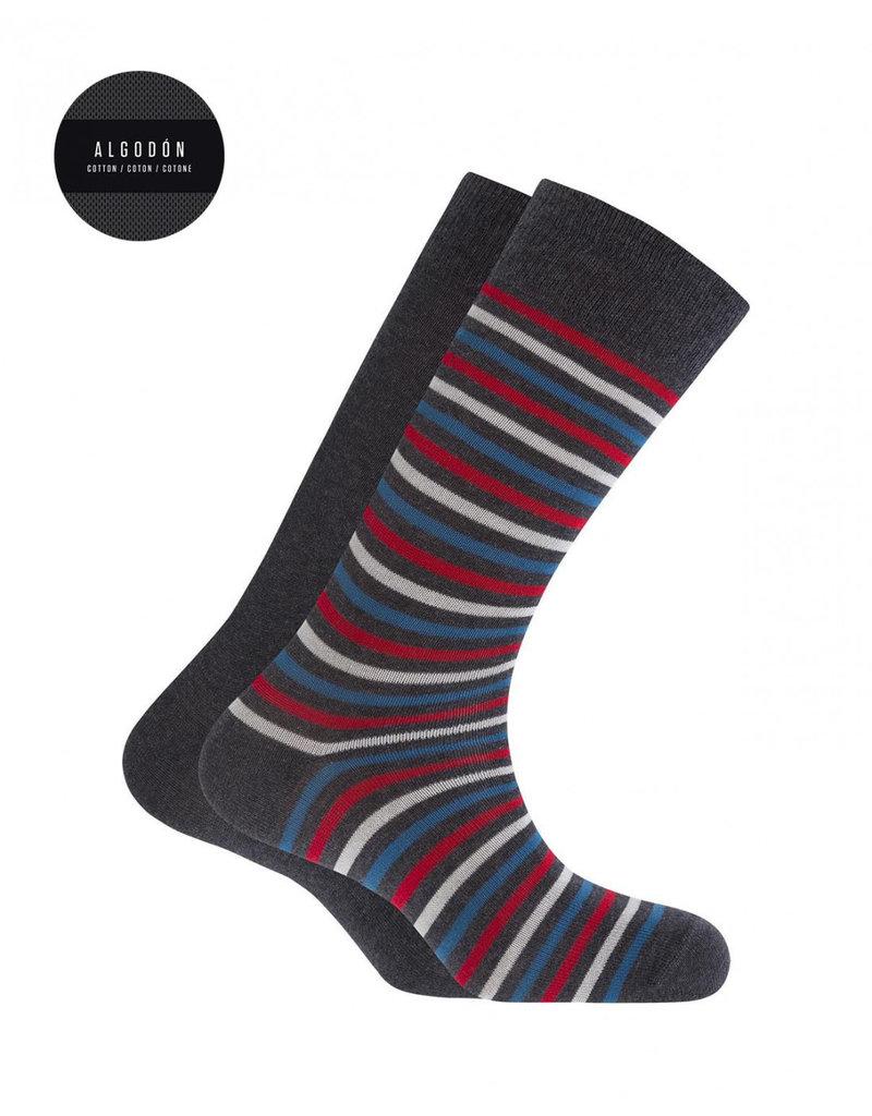Punto Blanco 7495610-657 2 paires Chaussettes en coton - rayures et unie