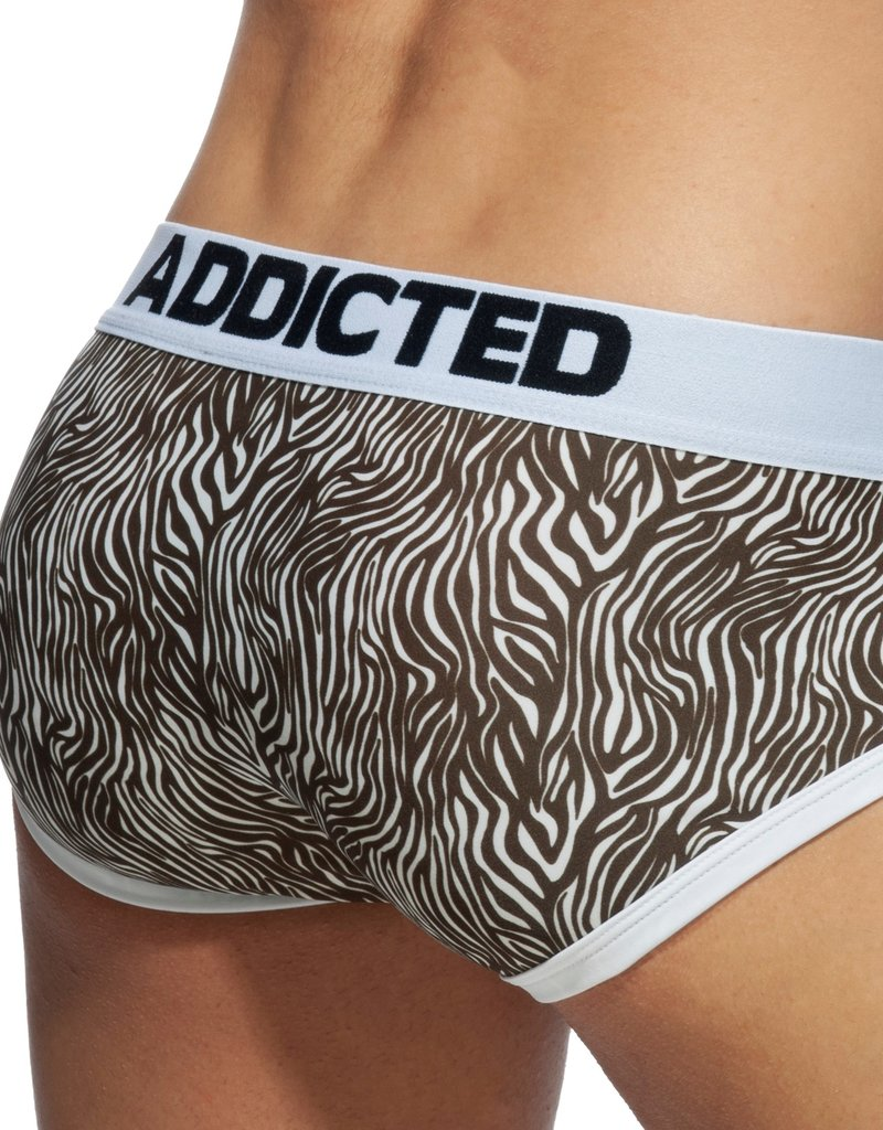 Addicted AD828 Zebra Swimderwear Brief Brown - push up