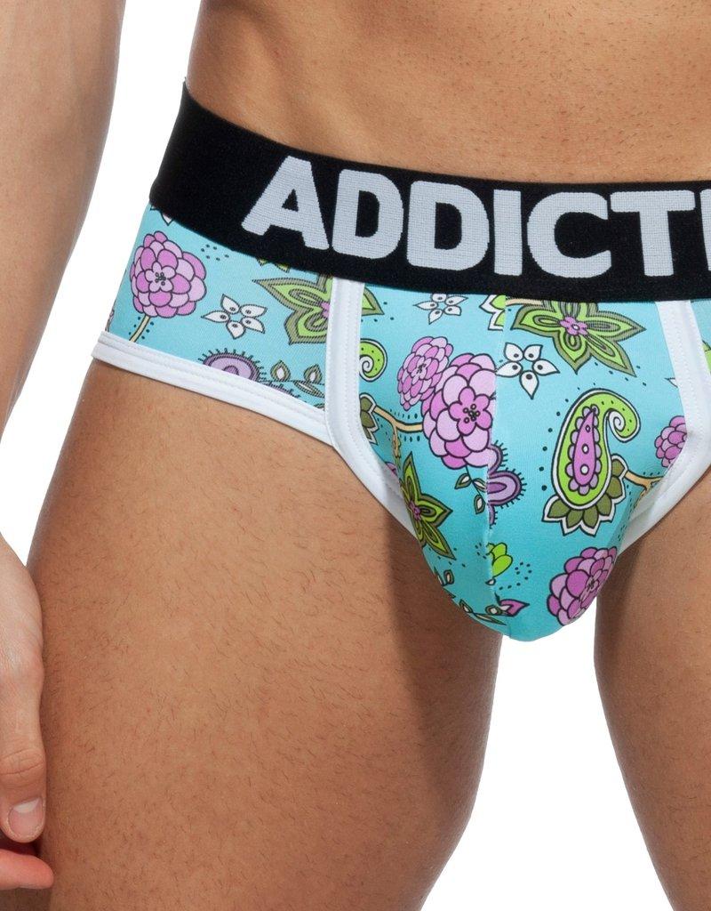 Addicted AD906 Flowery Swimderwear Brief Sky Blue -push up