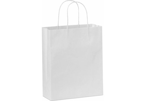 Papieren tas gedraaide handvat wit 26  x 38  x 8 - 2 kleuren bedrukt