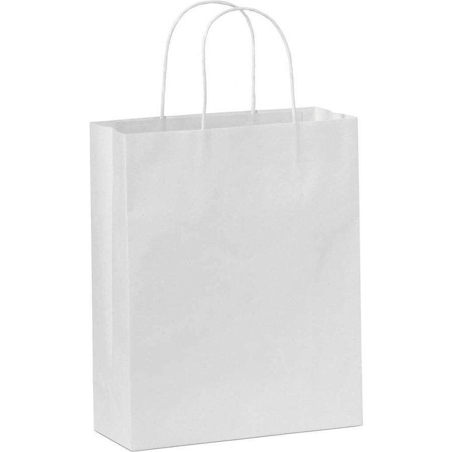 Papieren tas gedraaide handvat wit 26  x 38  x 8 - 2 kleuren bedrukt-1