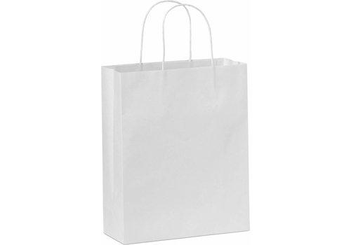 Papieren tas gedraaide handvat wit 34 x 44 x 14 - 2 kleuren bedrukt