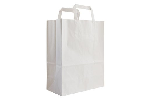 Papieren tas wit 28 x 26 x 19- 2 kleur bedrukt
