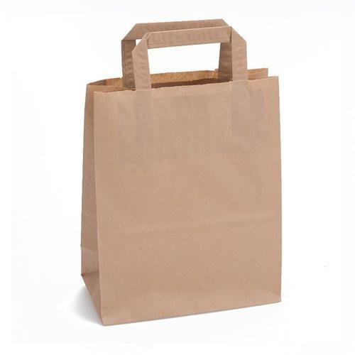 Papieren tas bruin 28 x 26 x 19- 1 kleur bedrukt