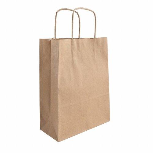 Papieren tas gedraaide handvat bruin  26  x 38  x 8 - 2 kleuren bedrukt