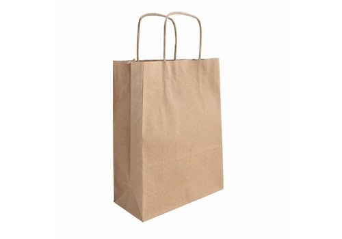 Papieren tas gedraaide handvat bruin  26  x 38  x 8 - 1 kleur bedrukt