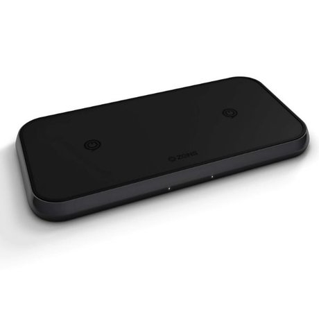 Zens Aluminium Dual Wireless Charger 10W Zwart