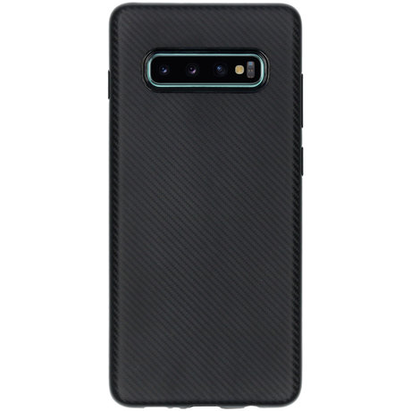 Carbon Softcase Backcover Galaxy S10 Plus - Zwart (D)