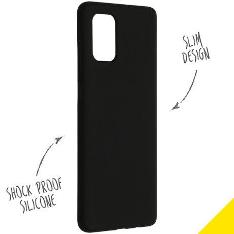 Accezz Liquid Silicone Backcover Samsung Galaxy A71 - Zwart (D)