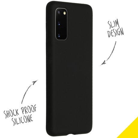 Accezz Liquid Silicone Backcover Samsung Galaxy S20 - Zwart (D)