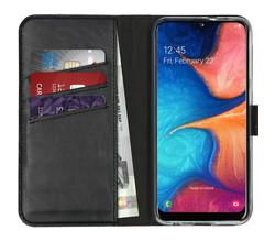 Selencia Selencia Echt Lederen Booktype Samsung Galaxy A20e - Zwart (D)