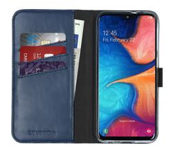 Selencia Selencia Echt Lederen Booktype Samsung Galaxy A20e - Blauw (D)