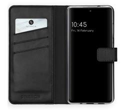 Selencia Selencia Echt Lederen Booktype Samsung Galaxy S20 FE - Zwart (D)