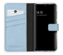 Selencia Selencia Echt Lederen Booktype Samsung Galaxy A41 - Lichtblauw (D)