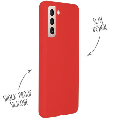 Accezz Liquid Silicone Backcover Samsung Galaxy S21 - Rood (D)