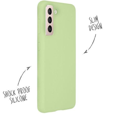 Accezz Liquid Silicone Backcover Samsung Galaxy S21 - Groen (D)