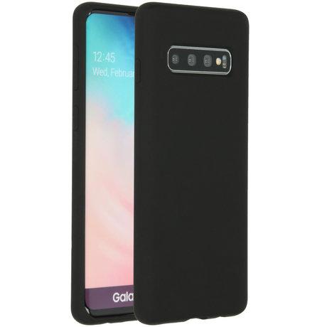 Accezz Liquid Silicone Backcover Samsung Galaxy S10 - Zwart (D)