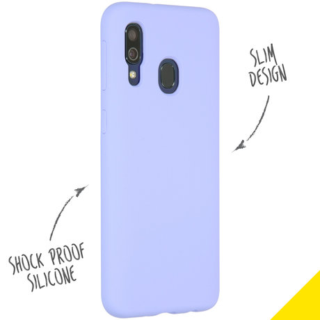 Accezz Liquid Silicone Backcover Samsung Galaxy A40 - Paars (D)