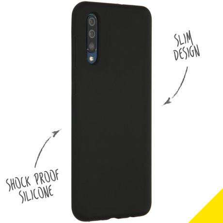 Accezz Liquid Silicone Backcover Samsung Galaxy A50 / A30s - Zwart (D)