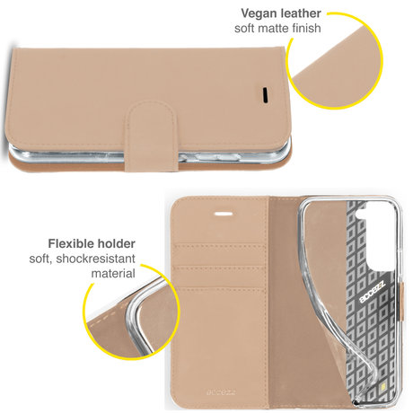 Accezz Wallet Softcase Booktype Samsung Galaxy S21 FE - Goud (D)