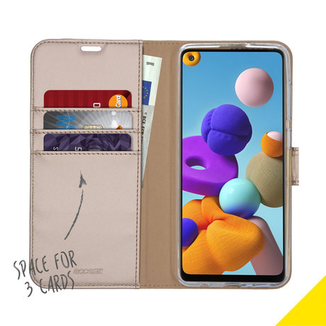 Accezz Wallet Softcase Booktype Samsung Galaxy A21s - Goud (D)