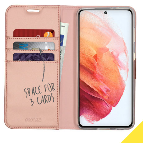 Accezz Wallet Softcase Booktype Samsung Galaxy S21 - Rosé Goud (D)