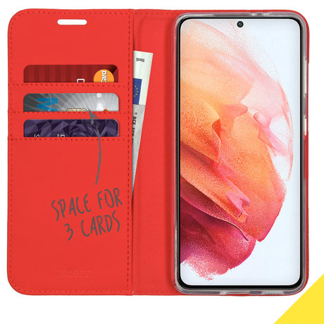 Accezz Wallet Softcase Booktype Samsung Galaxy S21 - Rood (D)