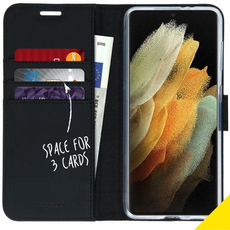 Accezz Wallet Softcase Booktype Samsung Galaxy S21 Ultra - Zwart (D)
