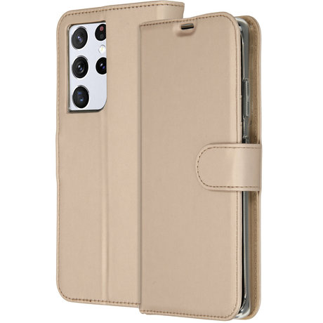 Accezz Wallet Softcase Booktype Galaxy S21 Ultra - Goud (D)