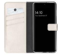 Selencia Selencia Echt Lederen Booktype Samsung Galaxy S21 FE - Lichtgrijs (D)