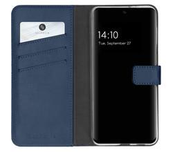 Selencia Selencia Echt Lederen Booktype Samsung Galaxy S21 FE - Blauw (D)