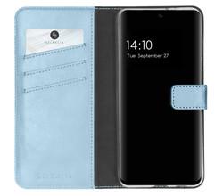 Selencia Selencia Echt Lederen Booktype Samsung Galaxy S21 FE - Lichtblauw (D)