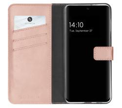 Selencia Selencia Echt Lederen Booktype Samsung Galaxy S21 FE - Roze (D)