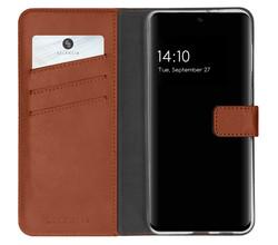 Selencia Selencia Echt Lederen Booktype Samsung Galaxy S21 FE - Lichtbruin (D)