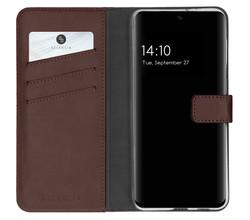 Selencia Selencia Echt Lederen Booktype Samsung Galaxy S21 FE - Bruin (D)