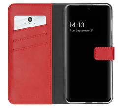 Selencia Selencia Echt Lederen Booktype Samsung Galaxy S21 FE - Rood (D)