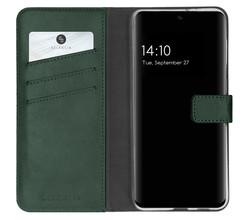 Selencia Selencia Echt Lederen Booktype Samsung Galaxy S21 FE - Groen (D)