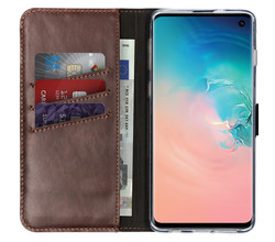 Selencia Selencia Echt Lederen Booktype Samsung Galaxy S10 (D)