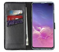 Selencia Selencia Echt Lederen Booktype Samsung Galaxy S10 Plus - Zwart (D)