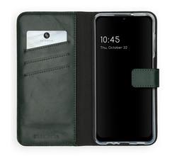 Selencia Selencia Echt Lederen Booktype Samsung Galaxy A12 - Groen (D)